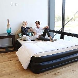 Bestway - Cama de aire doble con cabecero, 226 x 152 x 74 cm