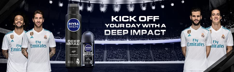 DEEP IMPACT DEODORANT with sponsors real Madrid players
