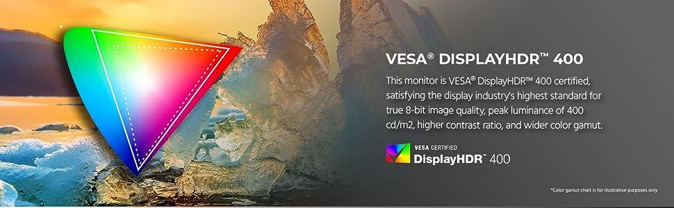 VESA displayHDR 400 certified, satisfying the display industry's highest standard for the 8 bit