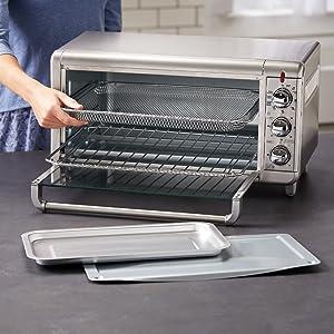 air fry basket, bake broil rack, pan, accessory included