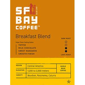 breakfast blend, morning coffee, coffee, whole bean, coffee, san francisco bay coffee,