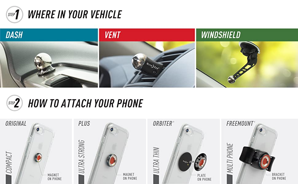 2 Steps to choosing your Steelie - first where in your vehicle, second how to attach to your phone