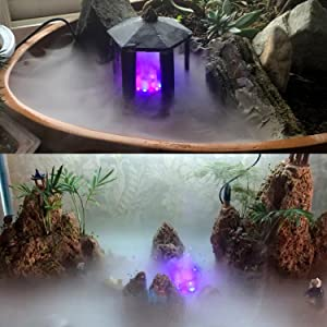 Mini Mister Underwater Steam Water Feature Fountain Pond With Blue LED Lights
