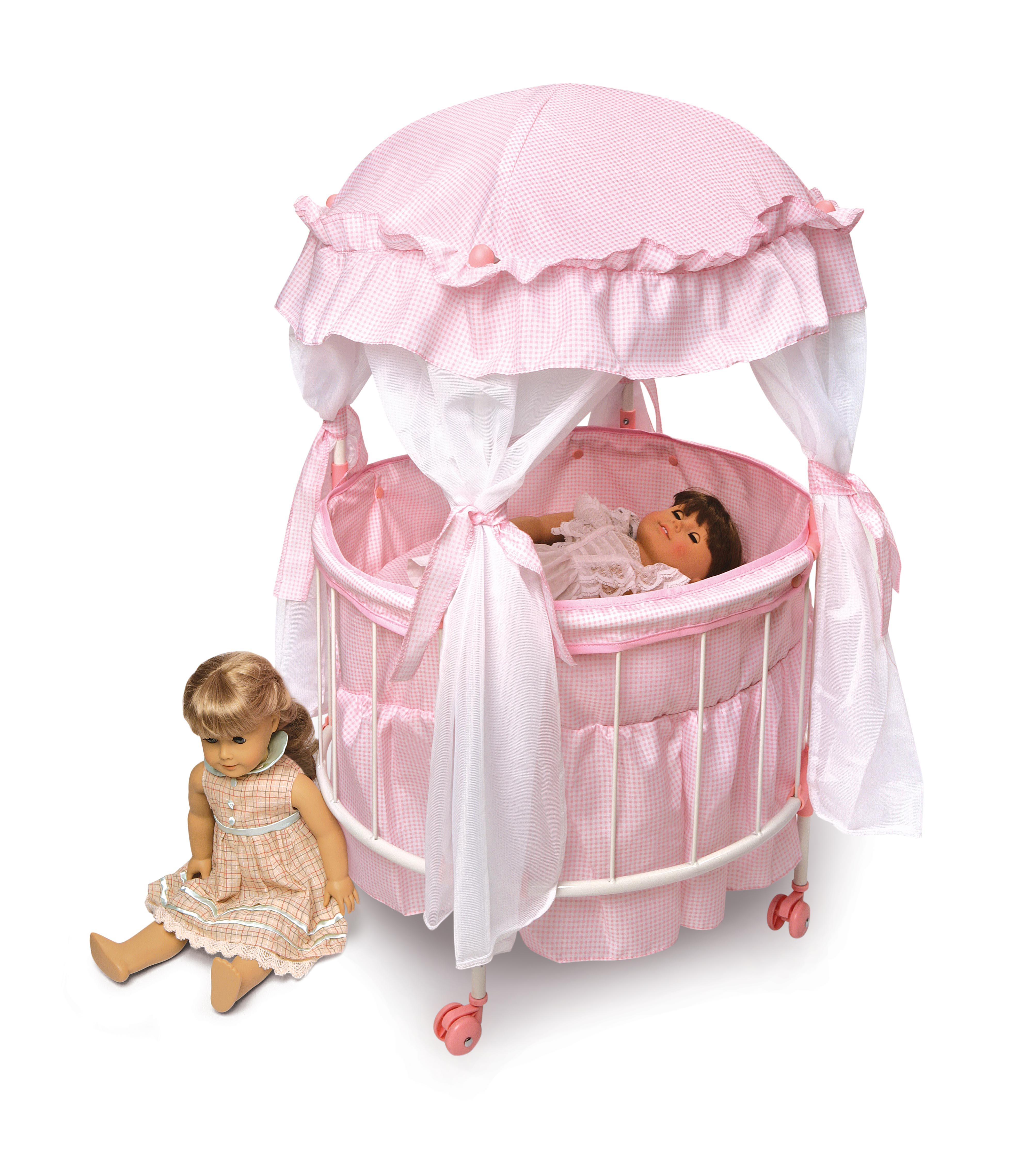 Badger basket 17900 royal pavilion round doll crib with for Baby girl canopy cribs