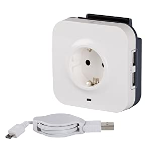 Legrand, 694671 Be Range - Base múltiple USB, enchufe protegido, 1 enchufe, 2 tomas USB, cable mini USB de 1mts, color blanco y gris