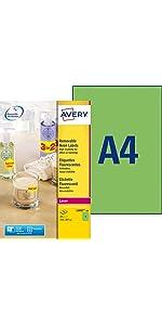étiquettes fluo, étiquettes fluorescentes, étiquettes fluorescentes vertes, avery, étiquettes avery