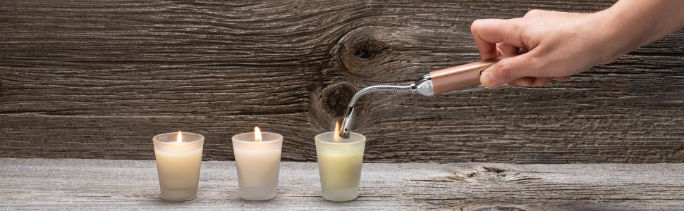 candle, candle lighters, mini flex candle lighter, champagne, rose gold, gold, flex neck, flex neck
