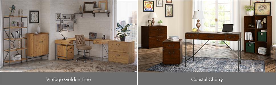 bush furniture,kathy ireland home,kathy ireland,ironworks,vintage golden pine,transitional