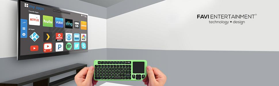 best favi backlit wireless mini handheld usb keyboard mouse touchpad remote chargeable battery green