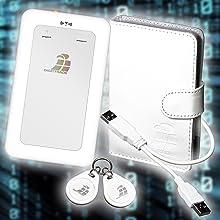 Lieferumfang beinhaltet verschlüsselte Festplatte RS64 zwei RFID-Chip Y-USB-Kabel Ledertasche
