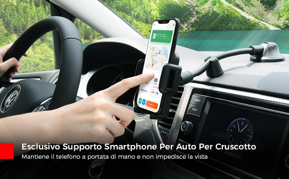 Mpow Porta Cellulare Auto, Supporto Cellulare Auto per Parabrezza
