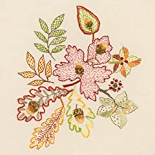 flowers, oak, leaves, acorns, embroidery, stitching, sewing, transfers,