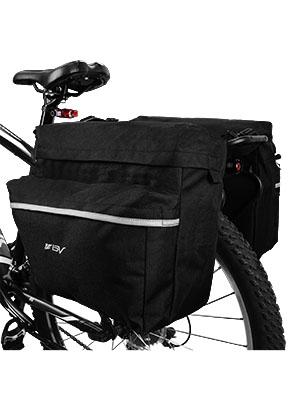 Bike Bag Bicycle Panniers w// Adjustable Hooks Reflective Trim Carrying Handle