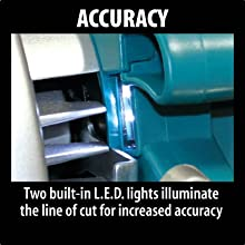 accuracy two built in LED lights illuminate line of cut increased accurate