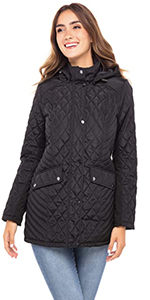 quilted jacket insulated removable hood comfort fit