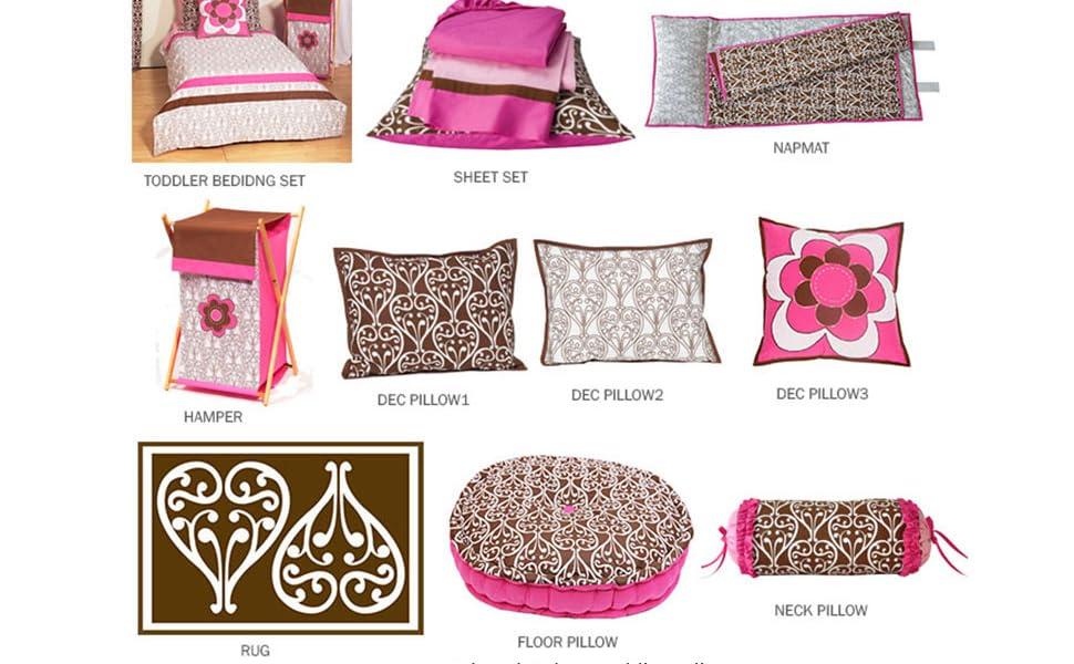 Bacati Damask Pink/Chocolate Girls Toddler Room Decor