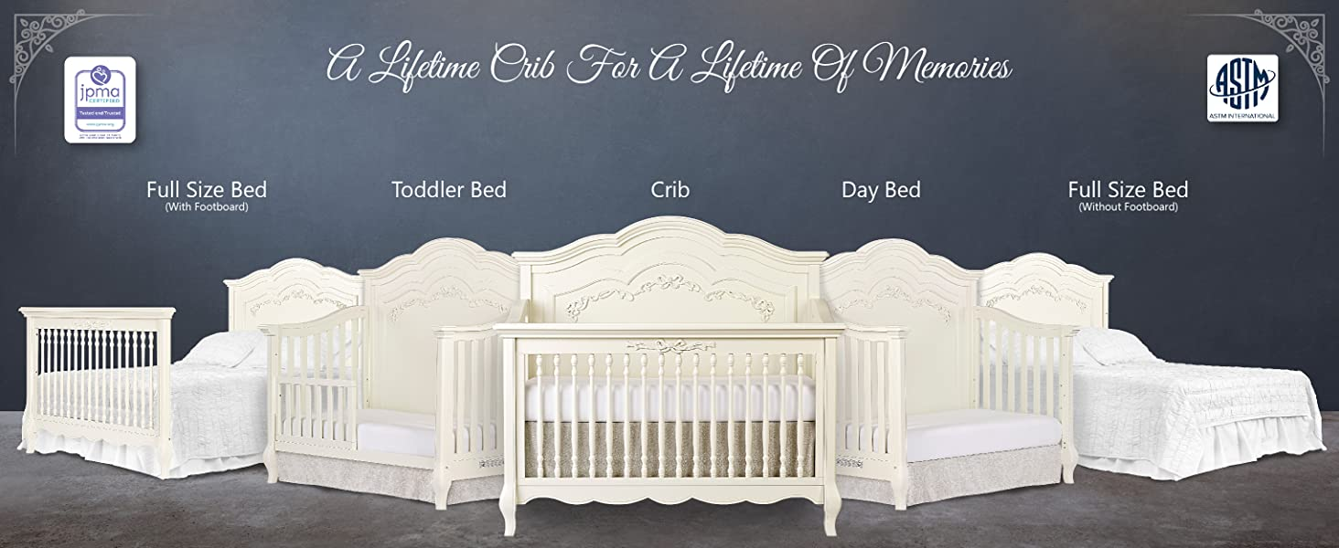 Convertible Crib Girl bed Affordable crib 5-in-1 toddler bed full-size bed