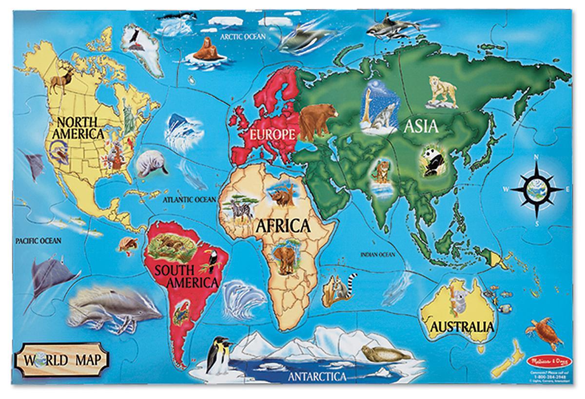 Amazon melissa doug world map jumbo jigsaw floor puzzle 33 view larger gumiabroncs Gallery