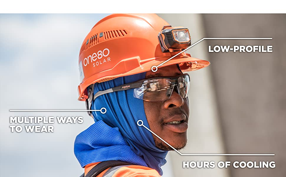 can be worn by itself or under a hard hat, multiple ways ato wear, when wet, cooling is immediate