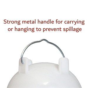 strong metal handle for carrying or hanging to prevent spillage