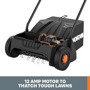 12 Amp Motor to thatch tough lawns