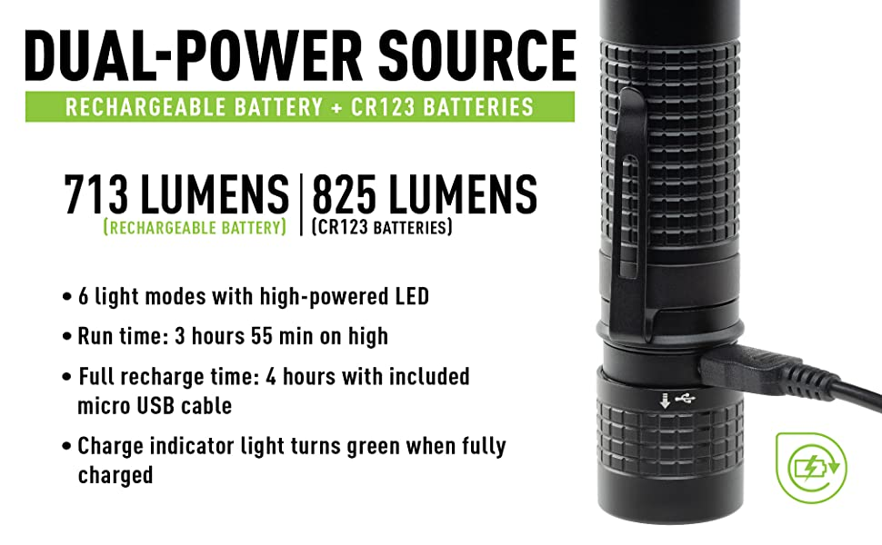 Dual power course flashlight, T7R features