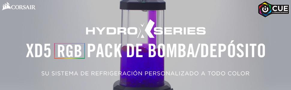 Corsair Hydro X Series, XD5 RGB Pack de Bomba/Depósito (Alto Rendimiento Xylem D5 PWM Bomba, Integrado Puert Relleno, Supervisión de Temperatura en El Bucle, Personalizable Iluminación RGB) Negro: Amazon.es: Informática
