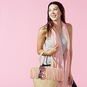 Tickled Pink Coral Stripe Summer Scarf paired with pink fringe Tickled Pink Summer Handbag