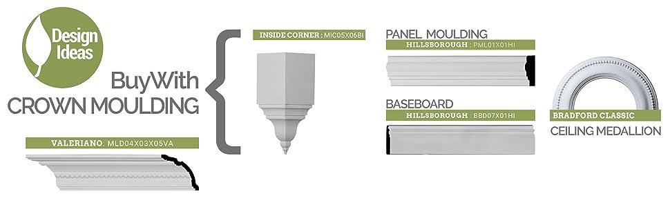 design ideas: buy with corner block, panel molding, baseboard, ceiling medallion