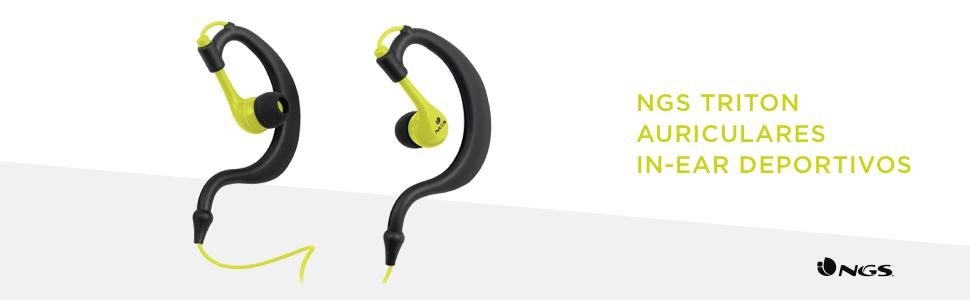 NGS Triton - Auriculares in-ear deportivos, color negro y amarillo ...