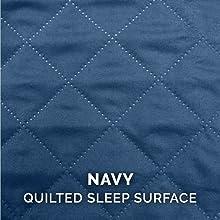 furhaven; image; closeup; sleep surface; quilted; navy; blue; pet; bed; mattress