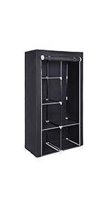 SONGMICS Double Canvas Wardrobe Clothes Storage Organiser Black 110 x 45 x 175 cm LSF007