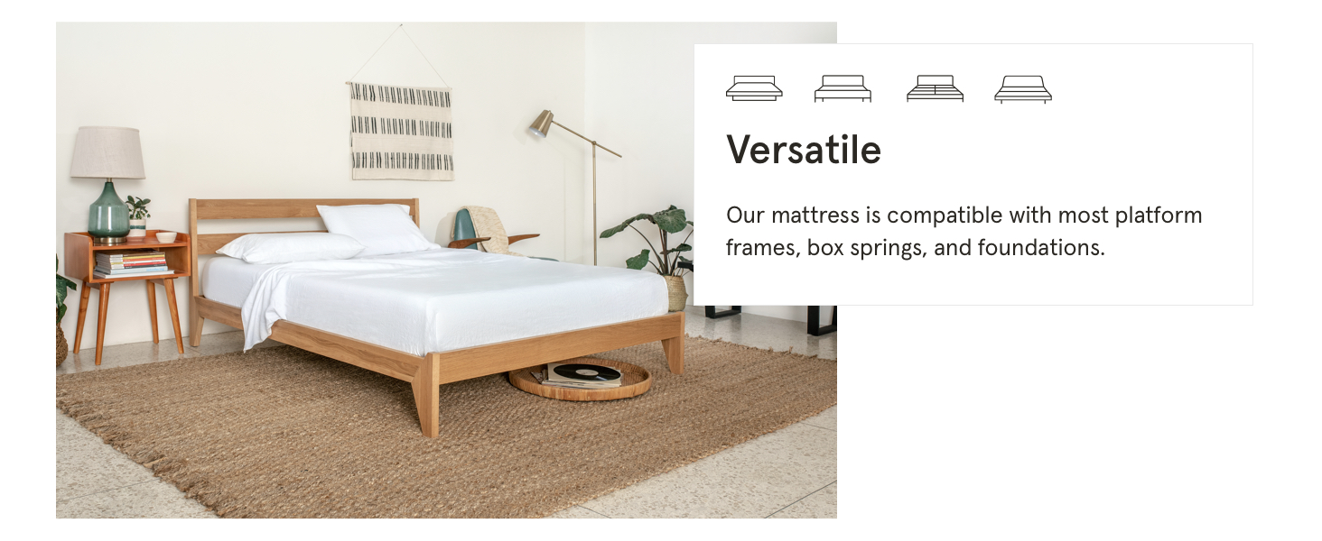 versatile mattress is compatible with most platform frames box springs foundations