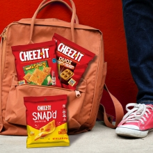 Cheez It Backed Snack Crackers are easy to pack in lunchboxes or backpacks for mobile snacking