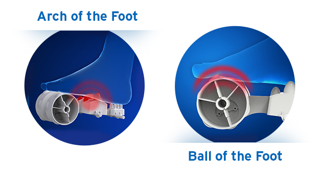 massage nodes for arch and ball of the foot