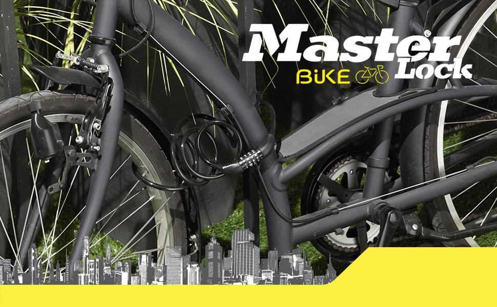 MASTER LOCK 8143EURDPRO Candado, 1, 2, Combinación, Exterior, para Bicicleta, Monopatín, Paseante, Cortacésped y Otro Equipo, Unisex, Negro, 1.2 m ...