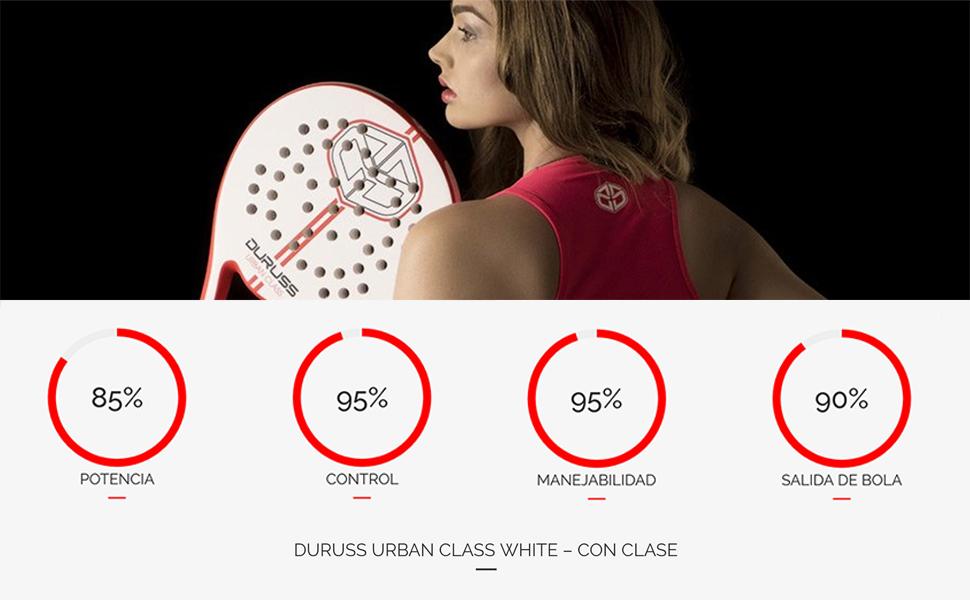 Duruss Urban Class Pala de Pádel, Adultos Unisex, White/Red, Talla ...