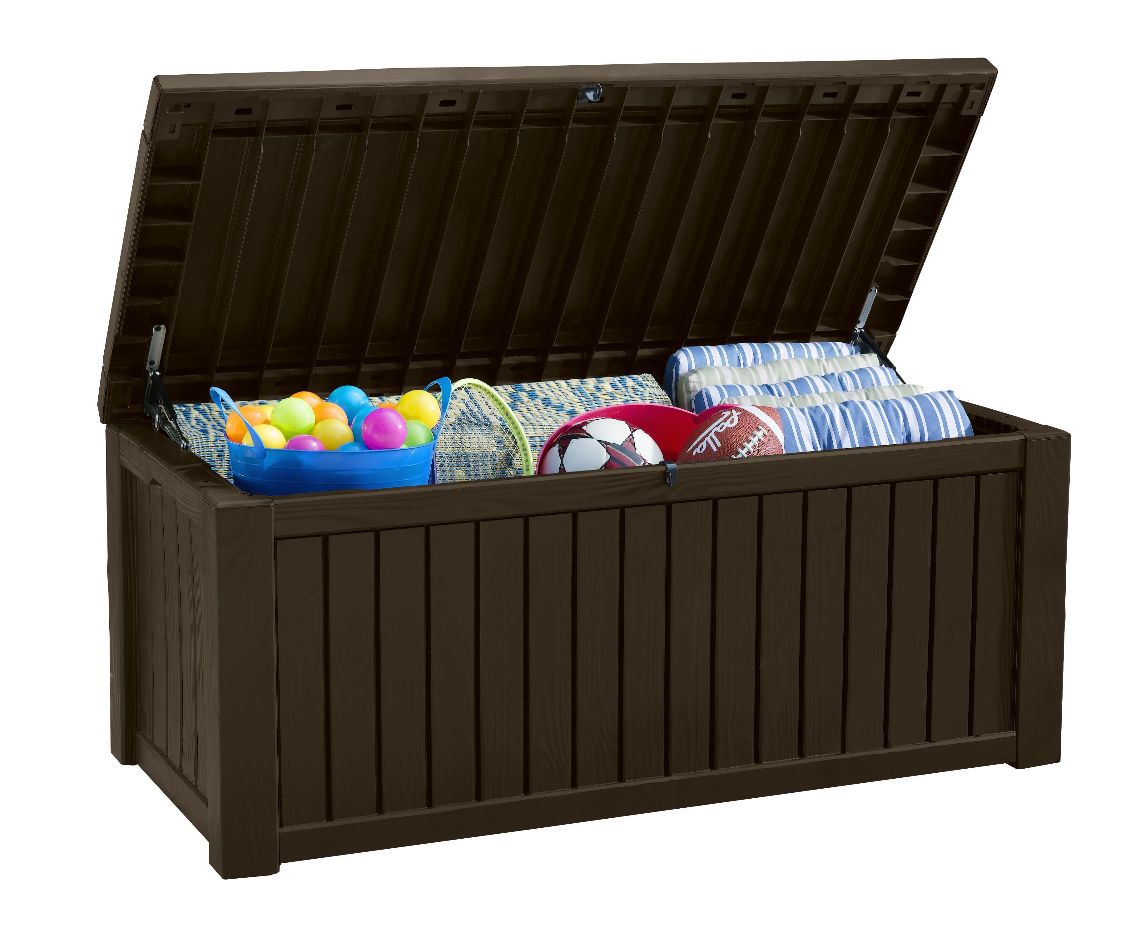 Amazon Com Keter Rockwood Plastic Deck Storage Container Box Outdoor Patio Garden