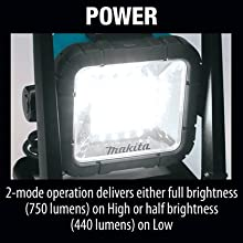 power 2 mode operation delivers full brightness high half low lumens lumen