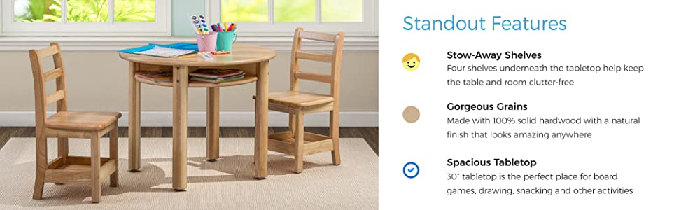 Amazon Com Ecr4kids Stowaway Table Solid Wood Round Kids Table With Built In Storage Natural Industrial Scientific