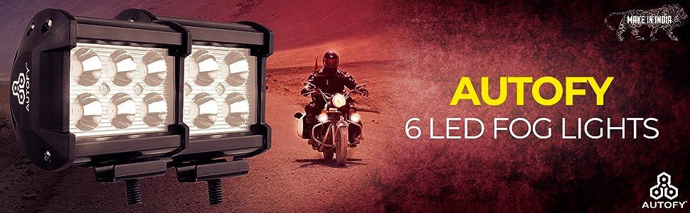 6 LED fog light led bar bike motorcycle work spot beam flood aux auxiliary night aluminium aluminum