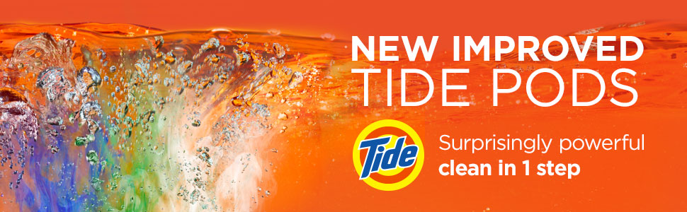 New improved Tide PODS Surprisingly powerful clean in 1 step