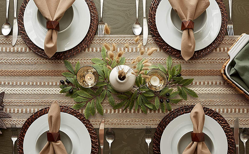 place setting runners placemats cotton yellow taupe blue green black orage dinnerware fall holiday