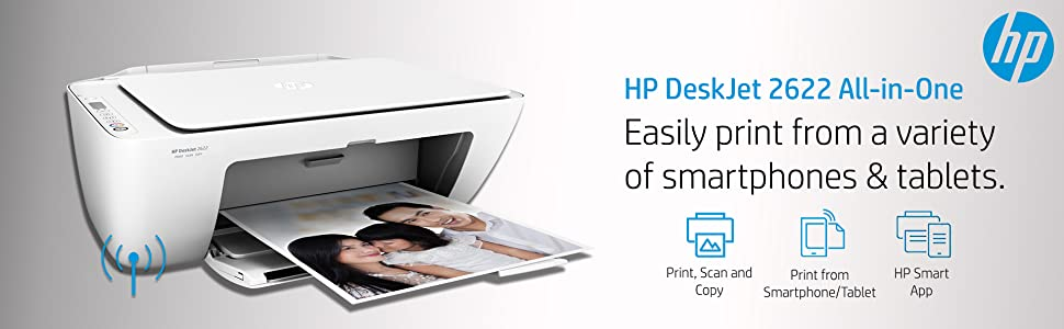 HP DeskJet 2622 All-in-One Wireless Colour Inkjet Printer (White)