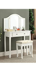 Amazon Com Roundhill Furniture Ribbon Wood Make Up Vanity
