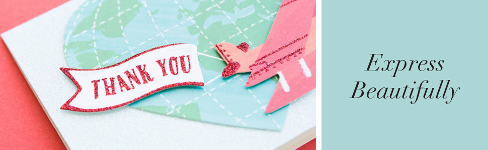 express beautifully. close up of a thank you banner on a stationery set