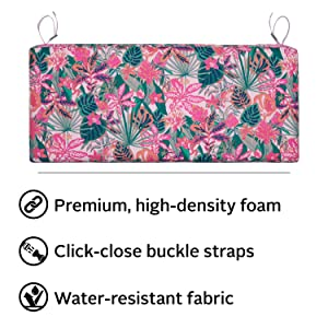 Vera Bradley by Classic Accessories Water-Resistant Patio Bench Cushion