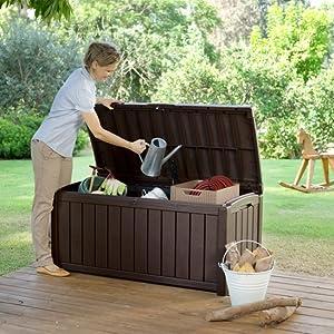 Storgage box garden accessories deck box outdoor Toys Cushions Gardening lockable handles Wheels