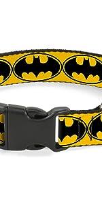 Batman Yellow Black Logo Bat Signal Old Original Dark knight DC Collar Pet Dog Plastic Buckle