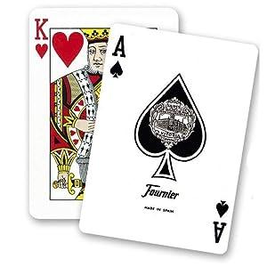 Fournier-nº18 Baraja de Cartas Poker Clasica, Color Azul/Rojo (174007)